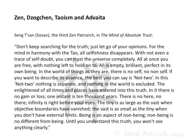 Advaita, Zen, Dzogchen and Taoism